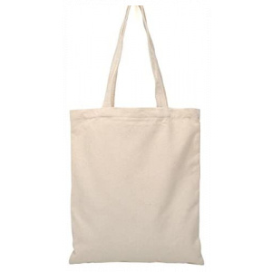 "Tote bag, cream with black handles 13""x 14.5"""